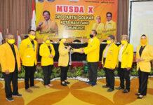 MUSDA. Titiek Utami kembali terpilih menjadi Ketua DPD Partai Golkar Kota Magelang dalam Musda X, di Hotel Atria,