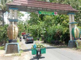 SENTRA DURIAN. Gapura Desa Giyanti sebagai Desa Sentra Buah Durian, pada awal tahun ini mulai banyak pedagang Durian bermunculan diwilayah tersebut.