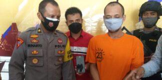 DIAMANKAN. Tersangka penyebar foto-foto syur seorang guru diamankan petugas Polres Purworejo.